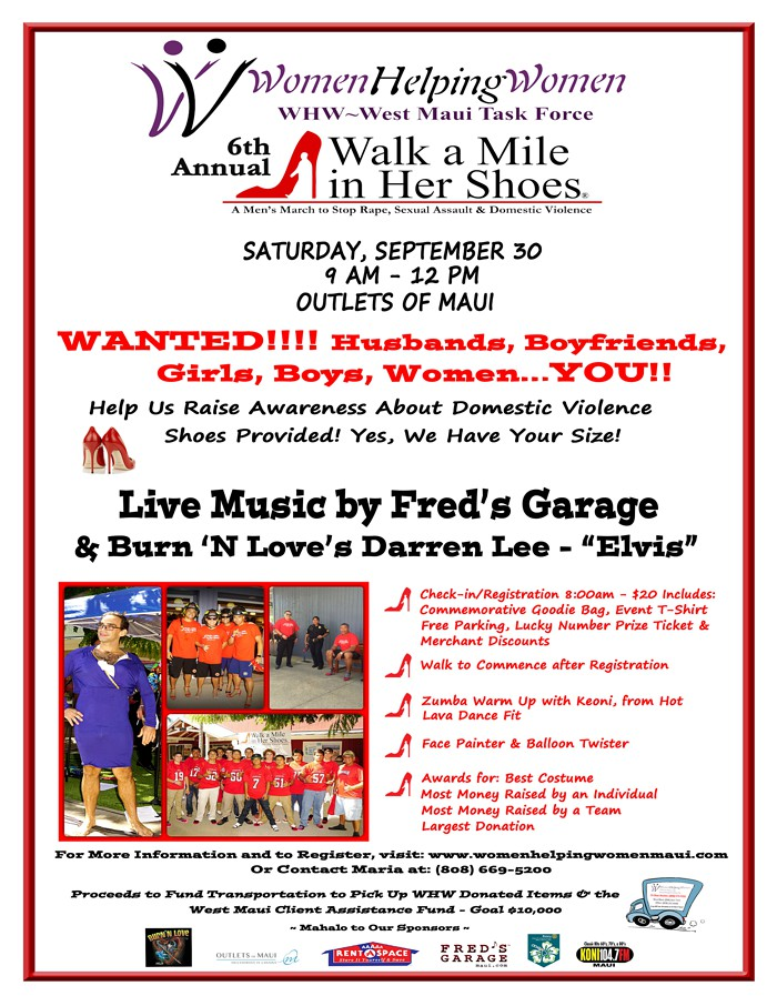 WHW Walk A Mile Flyer: September 30, 2017 - 9am to 12pm - Outlets of Maui, Lahaina